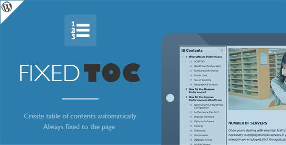 Fixed TOC v3.1.20 - table of contents for WordPress plugin