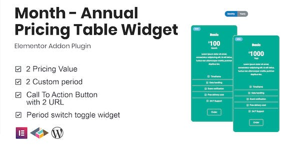 Month v1.0.0 - Annual Pricing Table Widget For Elementor