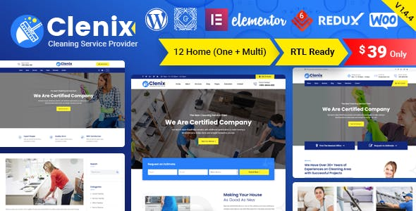 Clenix v1.4.4 Nulled - Cleaning Services WordPress Theme