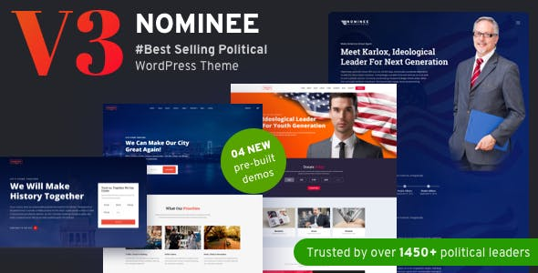 Nominee v3.4.0 Nulled - Political WordPress Theme for Candidate/Political Leader